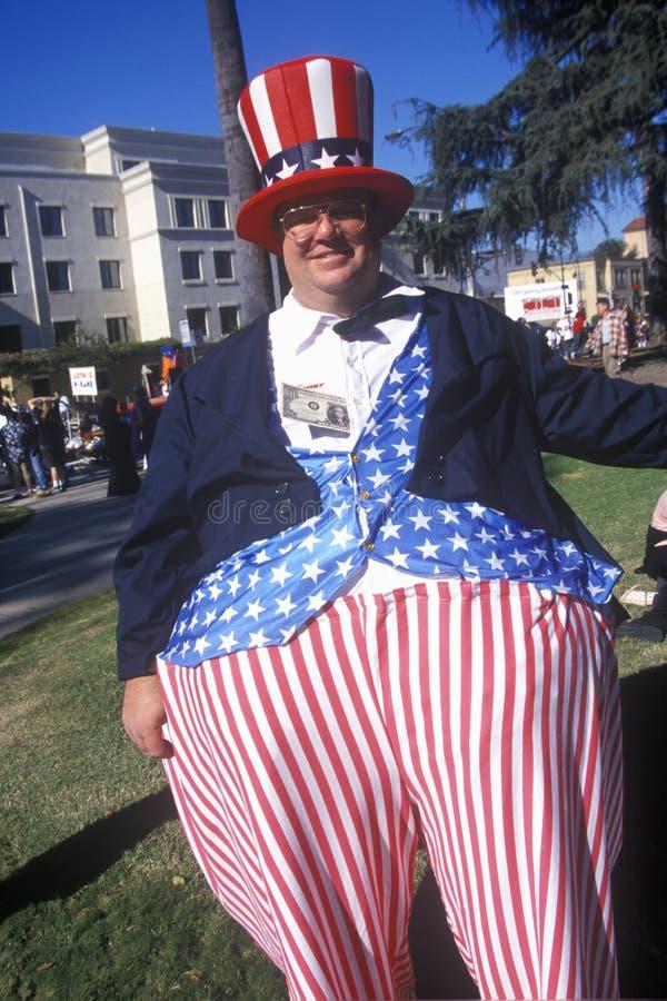 在Doo Dah游行的山姆大叔,帕萨迪纳加利福尼亚 图库摄影