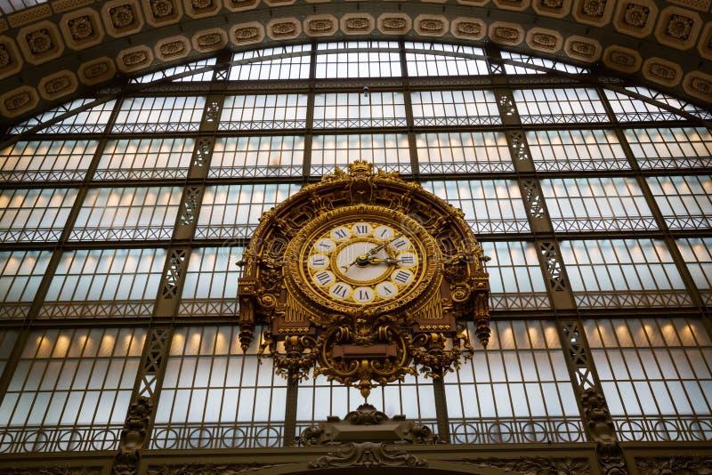 在dOrsay的Musee的古色古香的时钟,巴黎,法国 免版税图库摄影