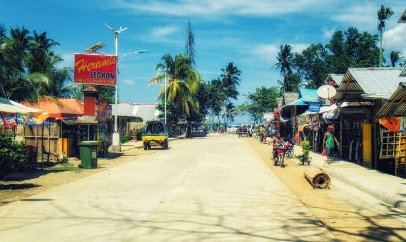 在Dumangas,伊洛伊洛省,菲律宾的街道场面 库存照片