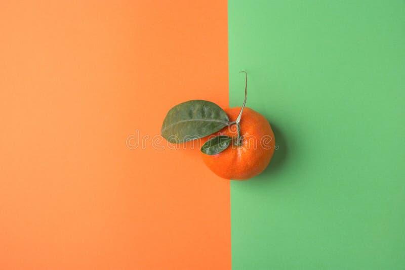 在Duotone绿色橙色背景的唯一明亮的成熟蜜桔 被称呼的创造性的图象 柑桔维生素夏天素食主义者 免版税库存照片