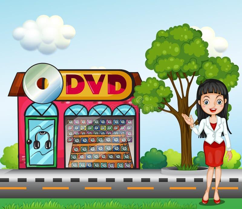 在dvd商店前面的一个女孩 向量例证