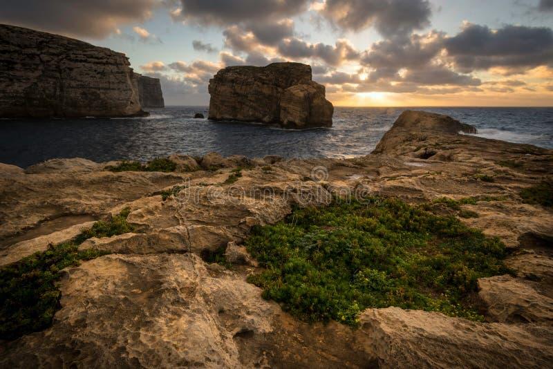 在Dwejra海湾的真菌岩石,马耳他戈佐岛 库存照片