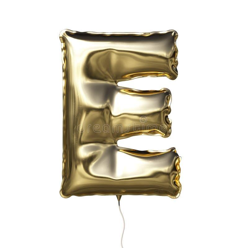 在E上写字被隔绝的由金黄可膨胀的气球制成在白色背景 皇族释放例证
