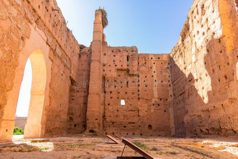 在El巴迪宫殿的废墟在马拉喀什摩洛哥 免版税库存照片