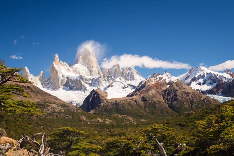 在El Chalten附近的菲茨罗伊峰山,在巴塔哥尼亚南部, 库存照片