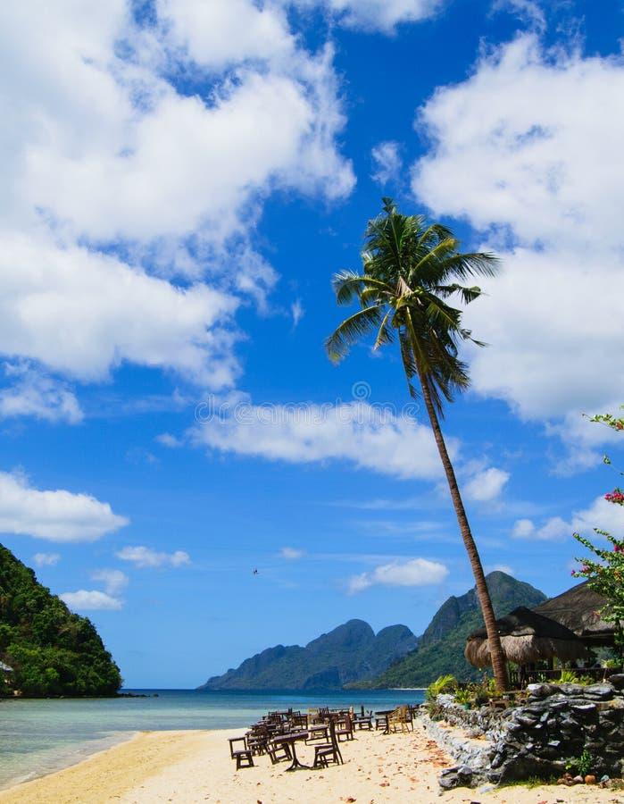 在El Nido,巴拉望岛,菲律宾的海景 免版税库存图片