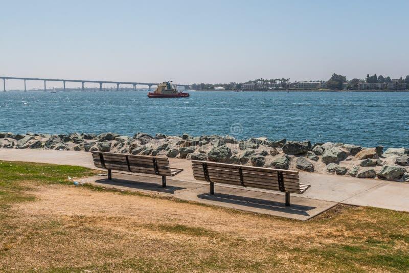 在Embarcadero公园的两张公园长椅南在圣地亚哥 库存图片
