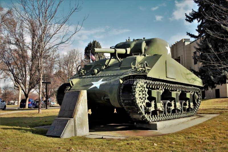 在Emmett,爱达荷的二战坦克 免版税图库摄影