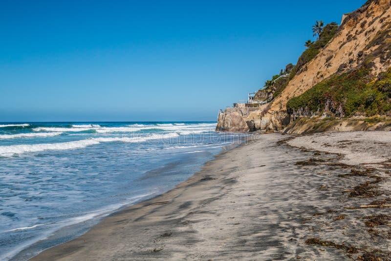 在Encinitas,加利福尼亚指引` s海滩 免版税库存图片
