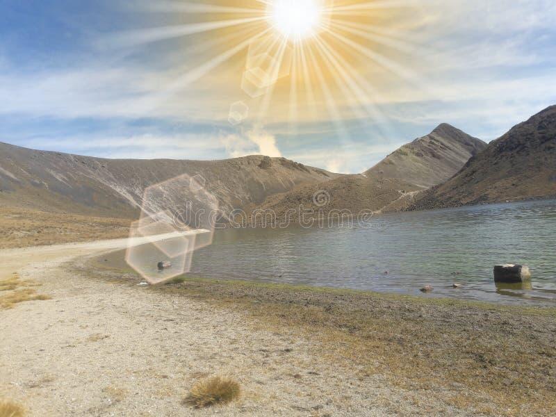 在Estado De墨西哥山的被覆盖的天空  库存照片