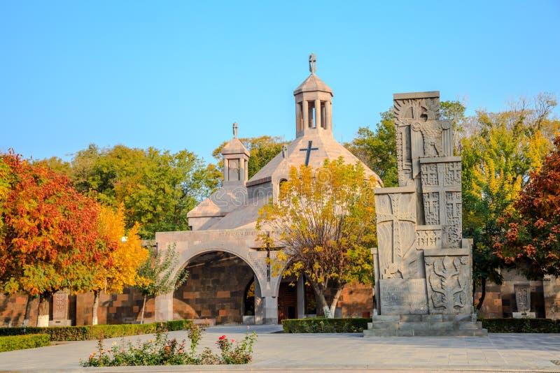 在Etchmiadzin大教堂的Baptisterium在亚美尼亚 库存照片
