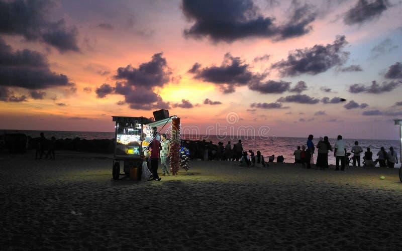 在ethukale海滩的摊位在斯里兰卡 免版税库存图片