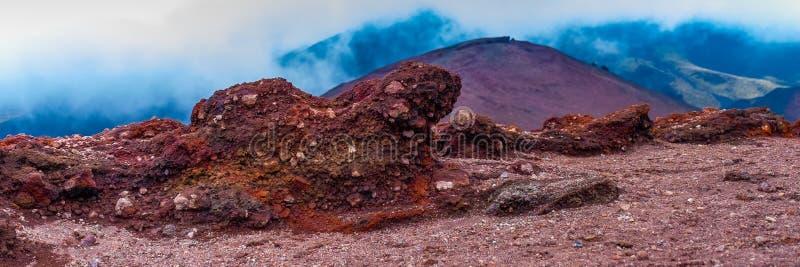 在Etna火山倾斜的石头  发现与它的贫瘠风景和熔岩石头的火山Etna 免版税库存图片