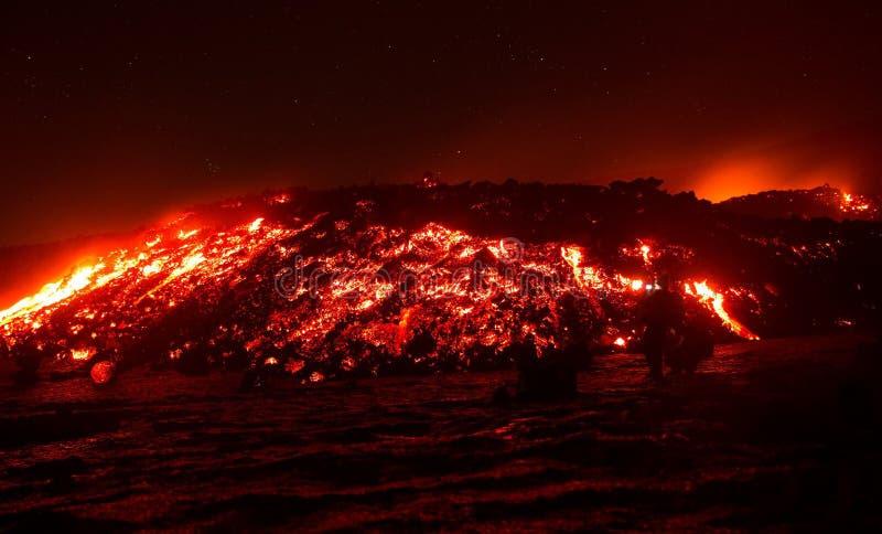 在Etna火山喷发的熔岩流 免版税库存照片