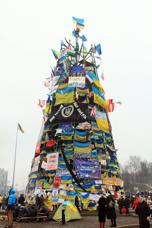 在Euromaydan的圣诞树 库存图片