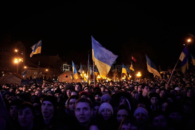 在Euromaydan的抗议在利沃夫州 免版税库存照片