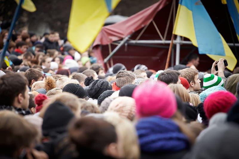 在Euromaydan的抗议在利沃夫州 库存图片