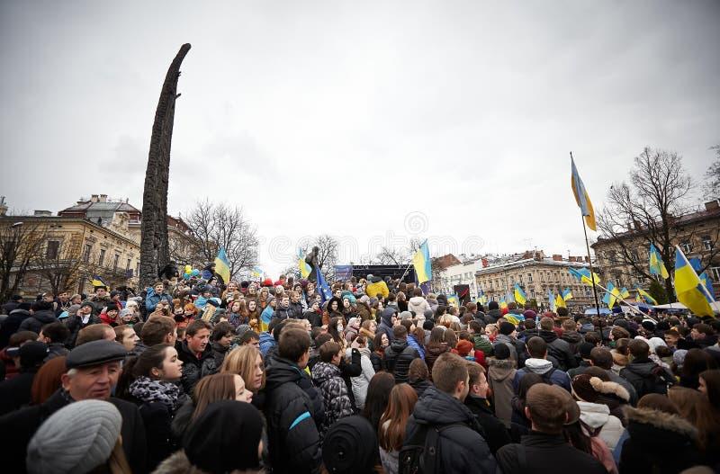 在Euromaydan的抗议在利沃夫州 免版税图库摄影