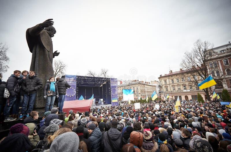 在Euromaydan的抗议在利沃夫州 免版税库存图片