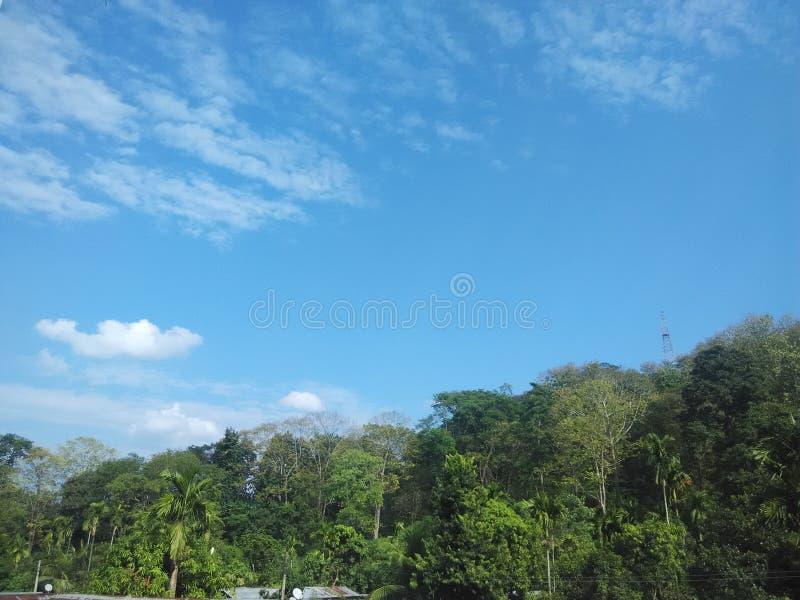在evining的时间asaam diphu的天空 免版税图库摄影