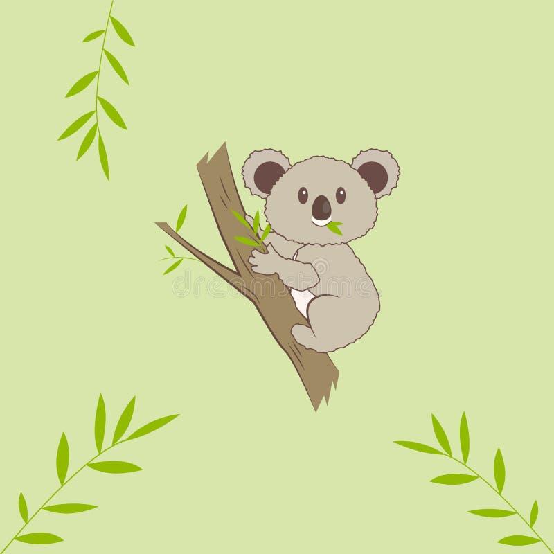 在evkalipt树的逗人喜爱的考拉 库存例证
