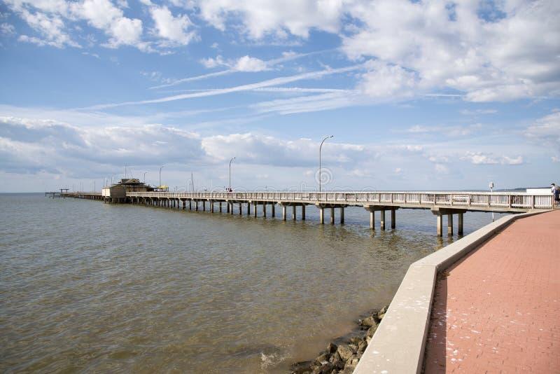 在Fairhope的bayfront码头在阿拉巴马美国 免版税库存图片