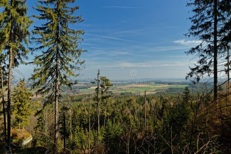在Fichtelgebirge山的看法在franconia 库存照片
