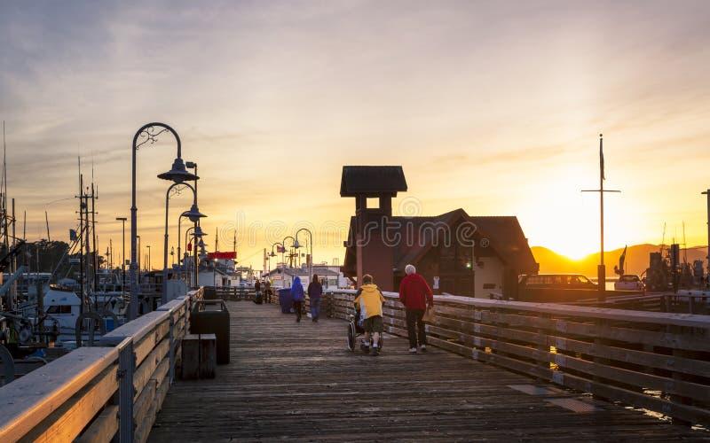 在Fishermans码头,旧金山,加利福尼亚,美国,北美洲的日落 免版税库存照片
