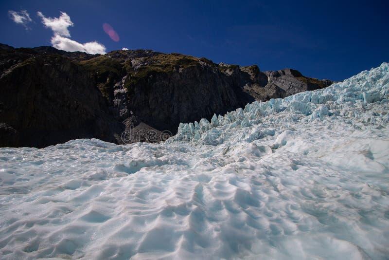 在Flanz约瑟夫冰川的好的看法与干净的天空 库存照片