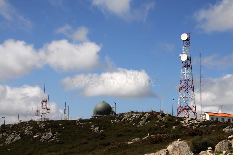 在Foia小山的无线电中继天线 免版税库存照片