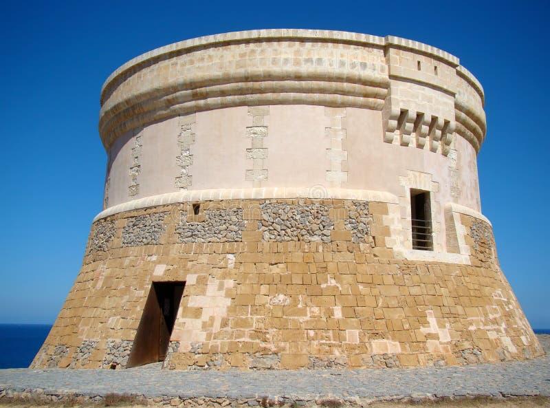 在Fornells, Menorca的Martello塔 图库摄影