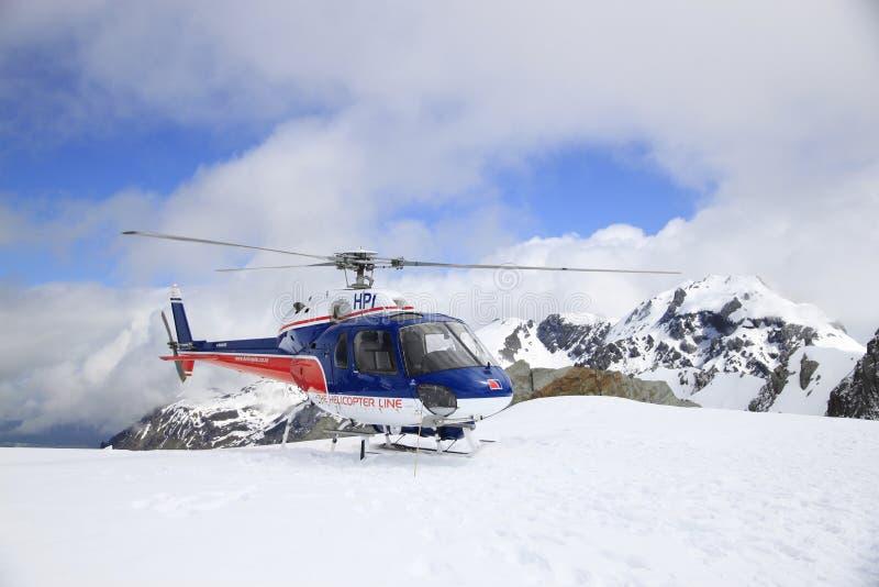 在Fox &弗朗兹约瑟夫冰川,新西兰的Helicopeter战斗 图库摄影