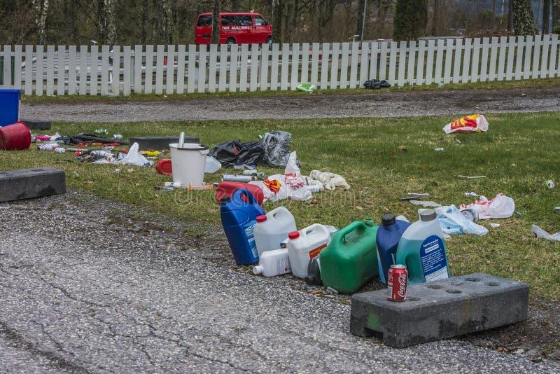 在Fredriksten堡垒的垃圾 库存照片