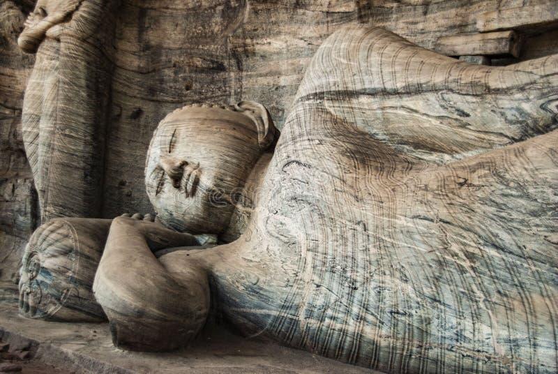 在Gal vihara石头寺庙的菩萨雕塑在波隆纳鲁沃在斯里兰卡 库存照片