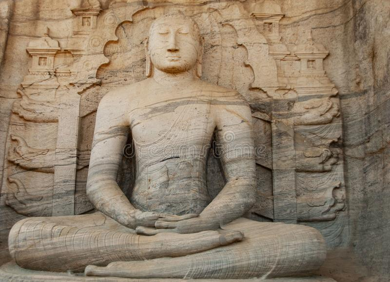 在Gal vihara石头寺庙的菩萨雕塑在波隆纳鲁沃在斯里兰卡 库存图片