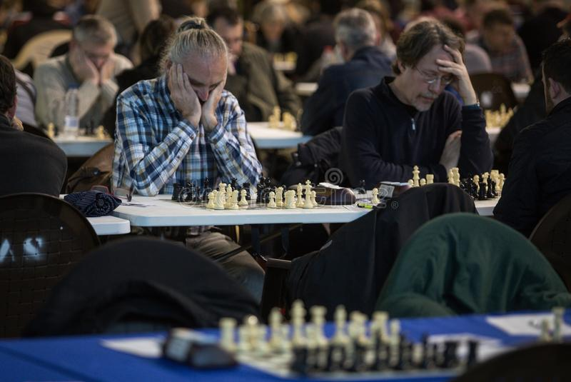 在gameplay期间的下象棋者在宽一次地方比赛 图库摄影