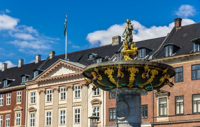 在Gammeltorv的Caritas喷泉在哥本哈根,丹麦 库存图片