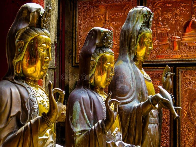 在Gangaramaya佛教寺庙的雕象在科伦坡,斯里兰卡 免版税库存照片