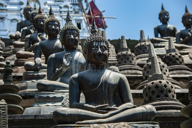 在Gangaramaya寺庙里面的坐的菩萨在科伦坡在斯里兰卡 库存图片