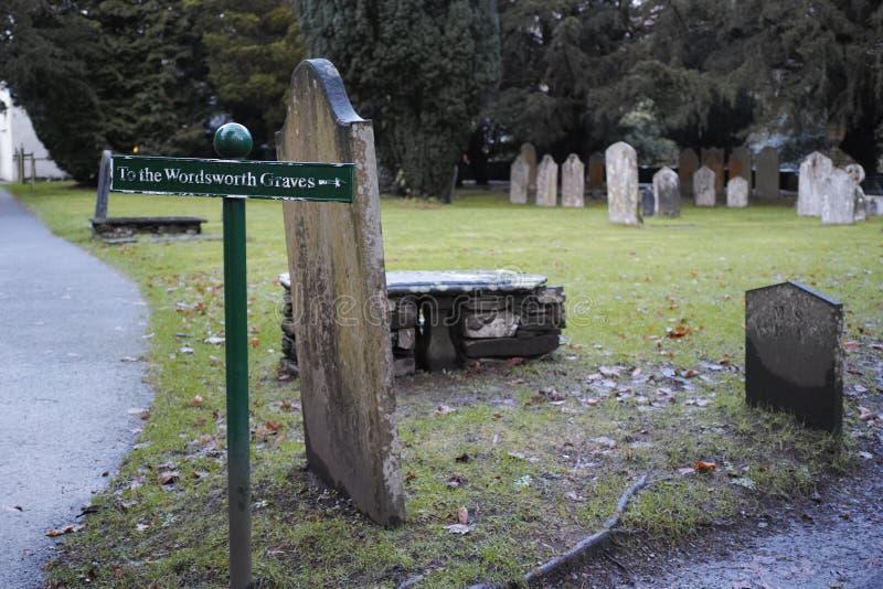 在Gasmere教区教堂的华兹华斯的坟墓 库存照片