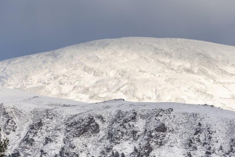 在Geal Charn的雪在苏格兰的凯恩戈姆山脉国立公园 免版税图库摄影