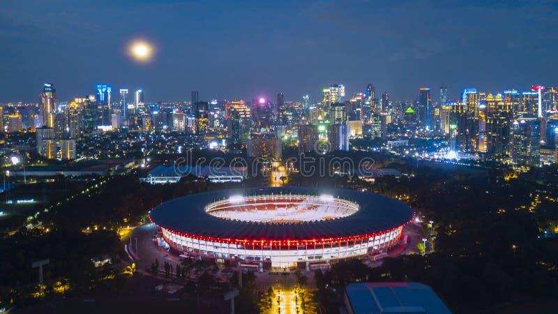 在Gelora桶盖Karno体育场的美好的光 库存图片