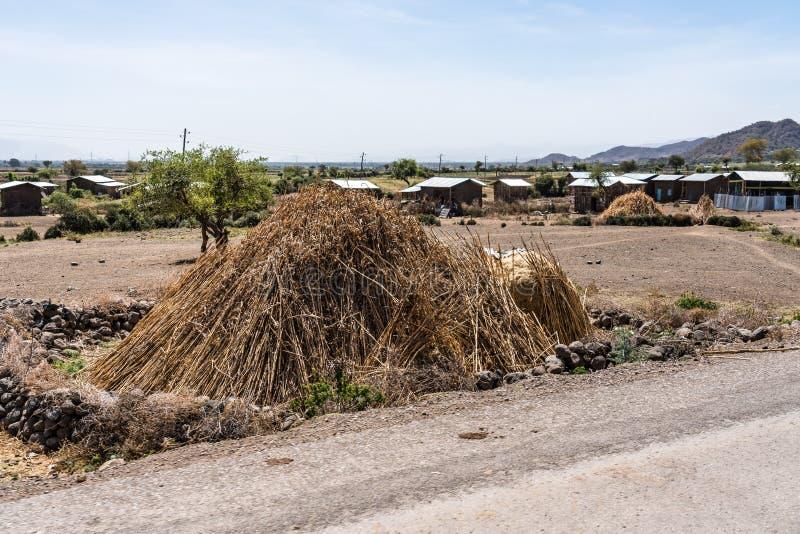 在Gheralta和拉利贝拉在提格雷,埃塞俄比亚北部,非洲之间的村庄 免版税库存图片