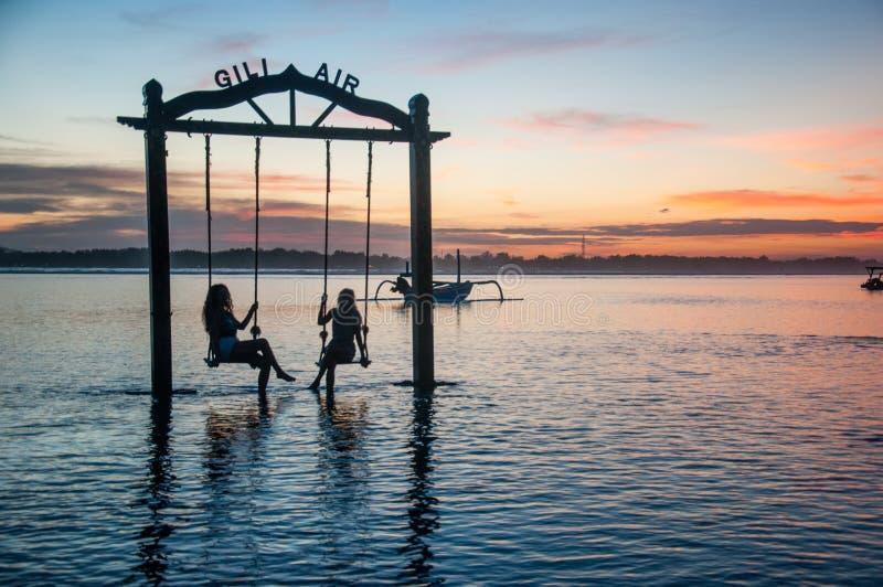 在Gili空气,龙目岛的日落 免版税库存照片