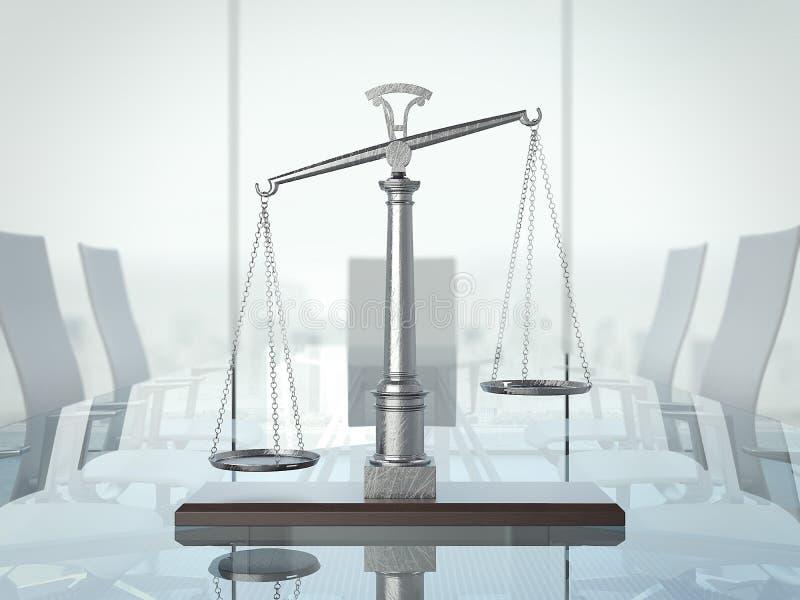 在glas桌上的正义标度 3d翻译 图库摄影