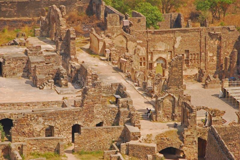 在Golkonda堡垒的废墟 图库摄影