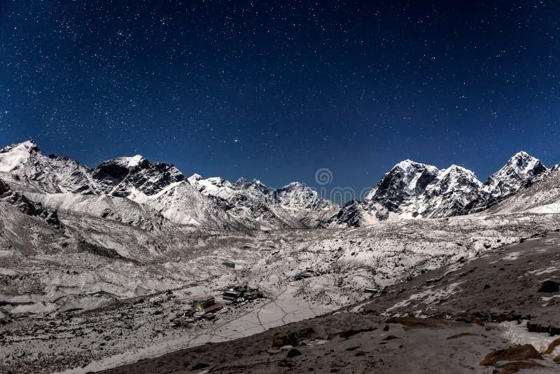 在Gorak Shep村庄的全景a的 库存图片