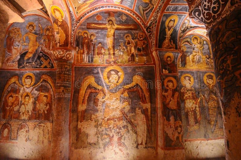在goreme, Cappadocia的古老壁画 库存图片