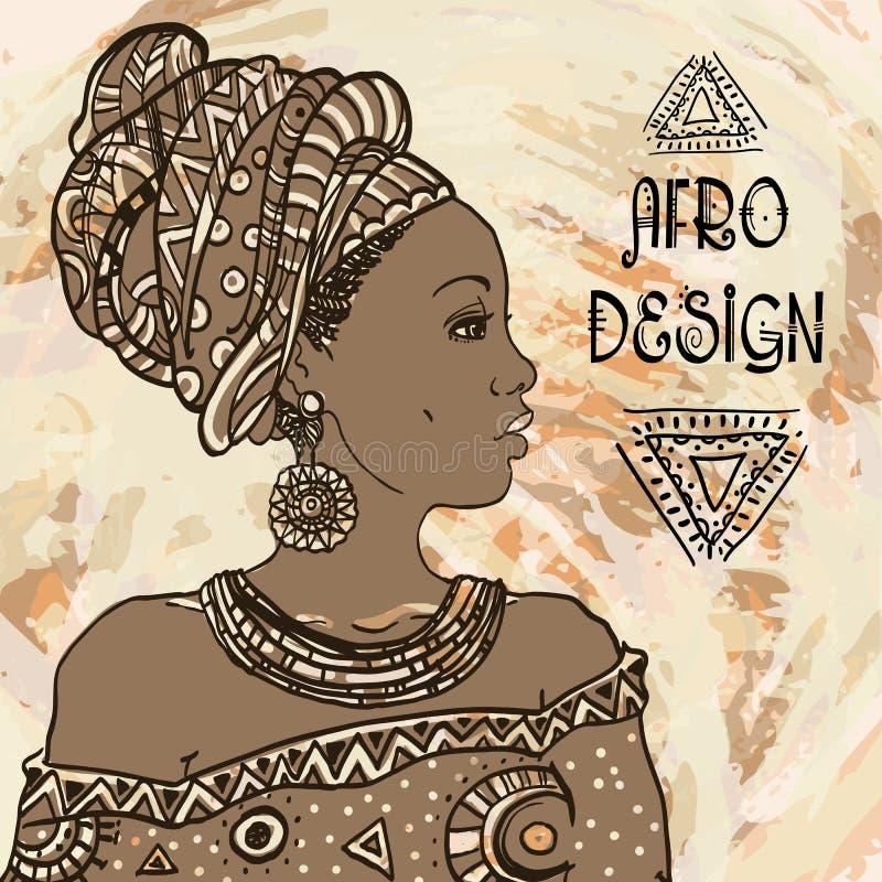 在grangebackground的种族年轻非洲妇女画象 也corel凹道例证向量 蓬松卷发设计 向量例证