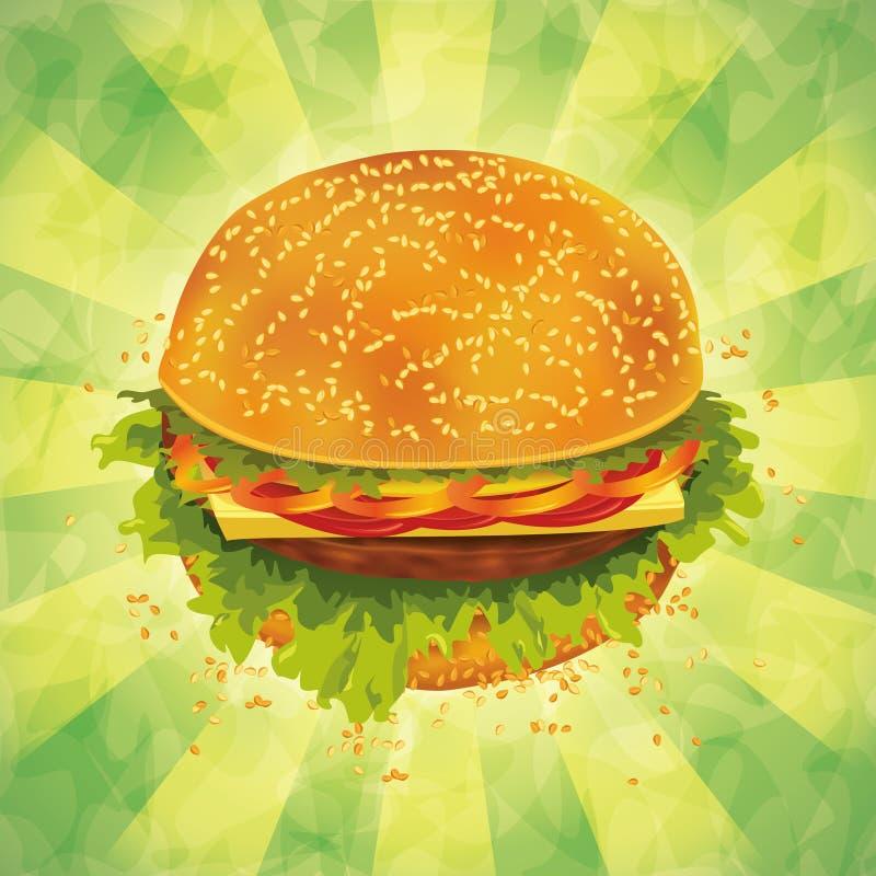 在grunge背景的鲜美汉堡包图片